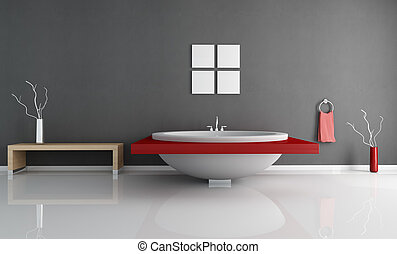 modern minimal bathroom with fashion white and red round bathtub