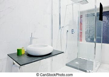 Modern new bathroom interior with bath tub