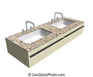 Modern washroom sink set with granite counter and chrome fixtures, 3d illustration, isolated against a white background