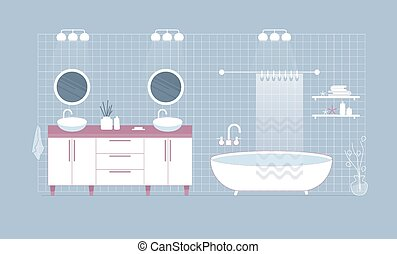 Modern white bathroom interior. Double sink and two circle mirrors. Bath with shower. Flat style.