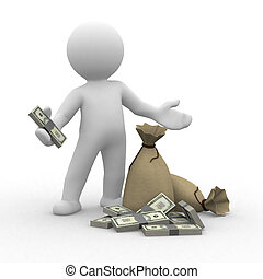 3d human keep money with bags in front of them