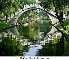 Moon Gate, Purple Bamboo Park, Beijing, China, reflection water Please note resubmitted after running through noise software and fixing white outs.