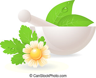 Mortar with herbs and camomile. Alternative medicine, vector EPS 10