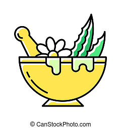Mortar with pestle color icon. Graining leaves for liquid. Aloe vera sprouts. Plants in bowl. Medicinal herbs and flowers. Organic fresh mix. Cosmetics and dermatology. Isolated vector illustration
