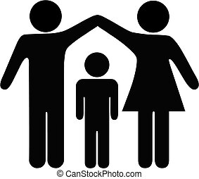 A mother and father hold up arms over their child to form a roof of security, protection, and safety.