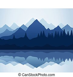 Kind on mountains and lake. A vector illustration