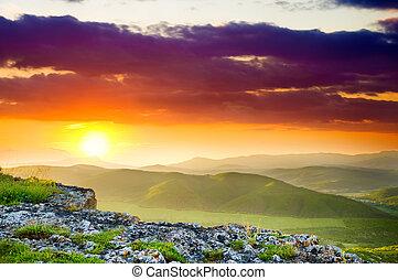 Mountain landscape on sunset.