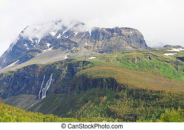 Mountains with waterfalls