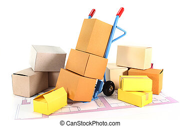 a sack truck and packing boxes on a white background