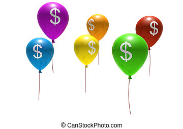 multicolored balloons with dollar symbols