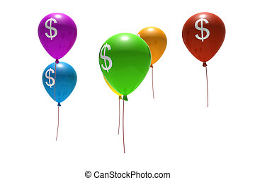 balloons with dollar symbols