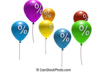 balloons with percent symbols