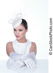 Close up Mysterious Young Woman in Elegant white Hat with glowes on