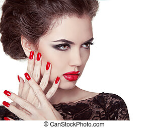 Nails closeup. Manicure and Makeup. Retro woman with red lips. Make up. Beauty lady face isolated on white background.