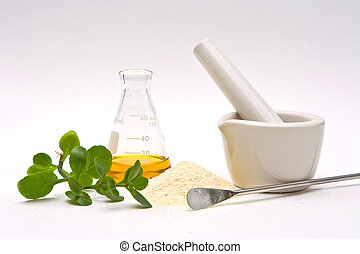 A yellow liquid in a flask with a powder and some leaves in front with a white mortar and a silver spatula on a white background