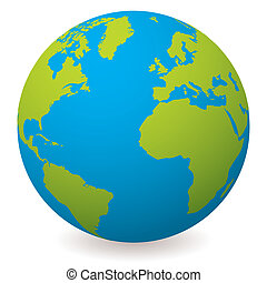 Illustrated earth globe in realistic land and ocean colours