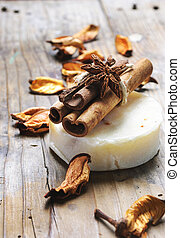 Natural handmade soap bar with anise and cinnamon scent essential oil for beauty bath and body care.