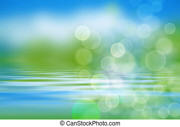 nature background with water waves and greens