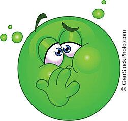 Emoticon with nausea