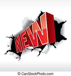 """""""NEW"""" inscription break through white background. Vector Illustration."""