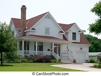 Modern classic new old house design in suburban community flying the US flag out front