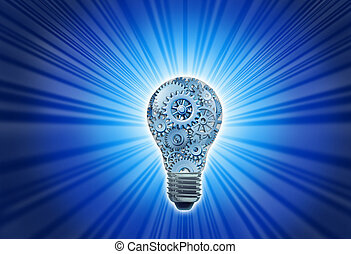 New working ideas and concepts featuring a light bulb with gears and cogs working together as a team representing teamwork and financial planning with strategy on black with radiating light.