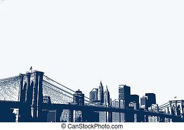 An illustration of the Brooklyn Bridge and Lower Manhattan skyline.