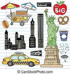 New York City Manhattan Notebook Doodle Design Elements Set on Lined Sketchbook Paper Background- Hand Drawn Vector Illustration