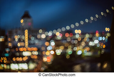 New york skyline night blurred lights city downtown, abstract background