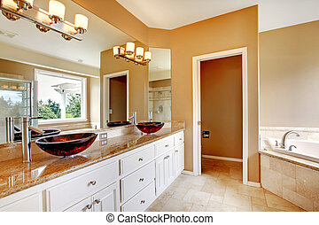 Nice master bathroom with marble counters in luxury home.