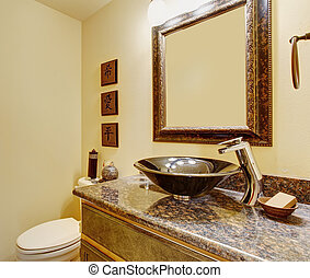 Nice master bathroom with marble sinks and counters.