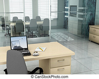 Laptop background is my own image. 3D rendering of an empty meeting room
