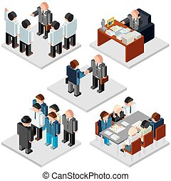 Office Life. Business Relationship. Isometric Vector