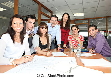 Office workers in a meeting