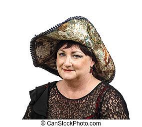 Old brunette in tapestry hat