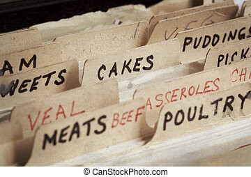 Old recipe box, with sections for cakes, meats, etc.