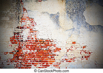 Background with grunge wall and bricks