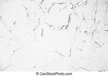 Old white crack concrete wall