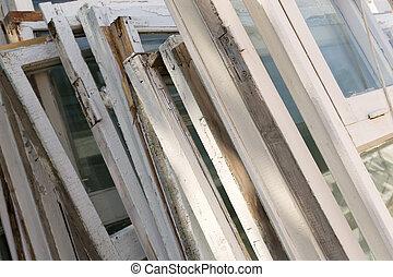 Old White Wooden Window Frames