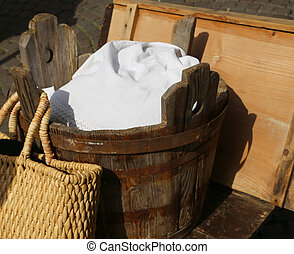 old wooden tub for washing clothes