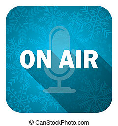 on air flat icon, christmas button