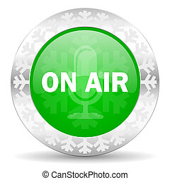 on air green icon, christmas button