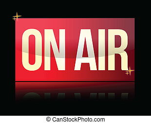 ON AIR luminous sign isolated over white