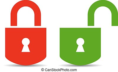 Open and closed padlock on white background