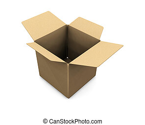 3D render of an open cardboard box
