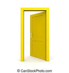 single yellow door open - door frame only, no walls