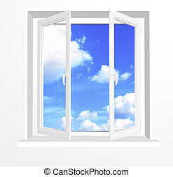 Opened window and clouds on blue sky