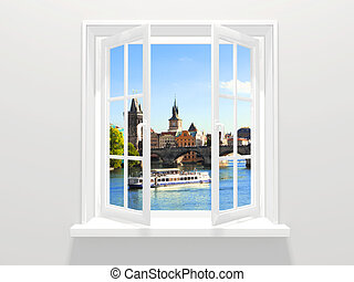 Opened window and view on Charles bridge, Prague, Czech Republic
