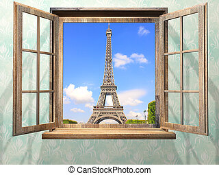 Opened wooden window and view on Eiffel tower, Paris