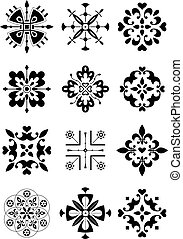 Traditional ethnic ornament - black and white vector illustration. Isolated design elements.